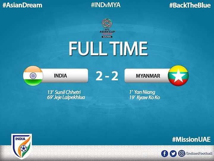 India 2 – 2 Myanmar – AFC Asian Qualifier -Post Match Analysis